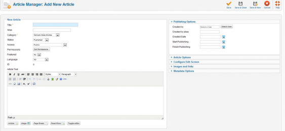 Adding a New Article in Joomla