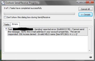 Email Error in Outlook - 550 Error